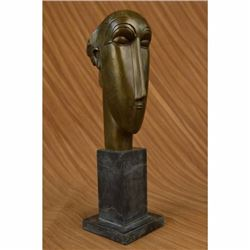 Modigliani Tribute - Bronze sculpture - Head of Caryatid Abstract Modern Figure
