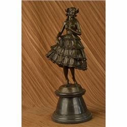 Bruno Zach Classic Well Dressed Lady Art Nouveau Bronze Sculpture Statue Figure