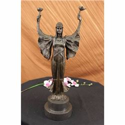 Signed Leonard Torch of Victory Art Nouveau Tall Woman Bronze Marble