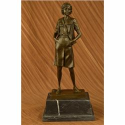 Signed German Preiss School Teacher Bronze Sculpture Art Deco Figurine Decor