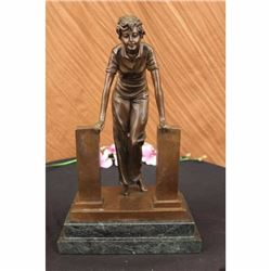 Bronze Art Standing Western Belle Woman Girl Lady Statue Marble Base Figure