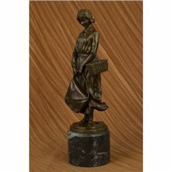 Art Deco Bronze Sculpture The School Girl by Alonzo Marble Base Figurine Gift