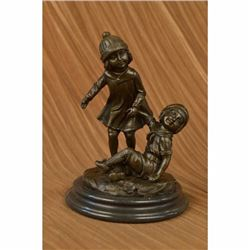 Art Deco European Bronze Children @ Play Bronze Sculpture Marble Base Figurine