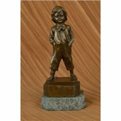 Bronze Collector Edition Buhner Signed Art Sculpture Young School Boy Statue