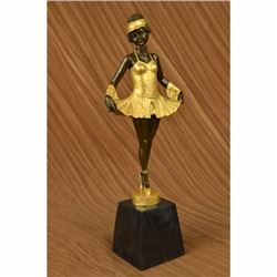 Bruno Zach Tutu Ballerina Dancer Gilt Bronze Sculpture Marble Base Statue Decor