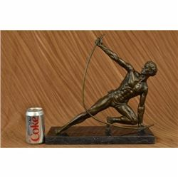 Art Deco Original Vitaleh Nude Man Archer Bronze Sculpture Marble Base Figurine