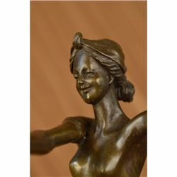 Signed French Jean Patoue Art Deco Original Nude Dancer Bronze Sculpture Statue