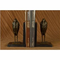 Salvador Dali Pair Pelican Bookends Book Ends Bronze Bird Lover Sculpture Statue