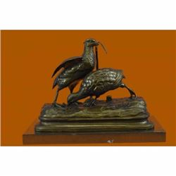 Large Hot Cast Two Love Birds Bronze Sculpture Marble Base Statue Figurine Gift