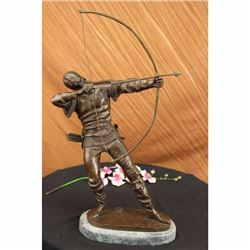 Signed Original European Ancient Warrior with Bow and Arrow Bronze Sculpture