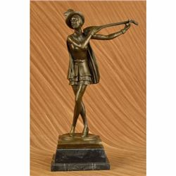 Original Aldo Vitaleh Dutch Female Banjo Player Bronze Sculpture Marble Statue