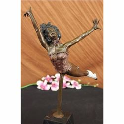 Signed Semi Nude Acrobat Girl by Lucien Alliot Bronze Sculpture Marble Statue