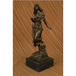 Signed Jean Patoue French Artist Captive Sexy Woman Bronze Sculpture Statue