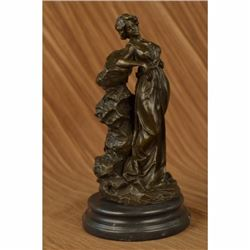 Signed Original French Artist Roman Goddess Bronze Sculpture Art Nouveau Figure