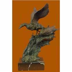 American Artist Fisher Original Duck Decks Marshland Bronze Sculpture Figurine