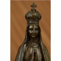 Bronze Art Metal Sculpture Religious Crowned Virgin Mary Bird Figurine Statue