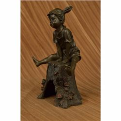 Signed Original Art Taylor Girl on A Tree Stump Bronze Sculpture Figurine