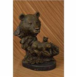 Grizzly Kodiak Black Bear Family Wildlife Art Cabin Lodge Bronze Marble Statue