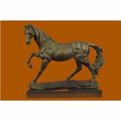 Signed Original Large Arabian Horse Bronze Sculpture Modern Art Marble Figurine