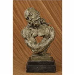 Signed Original Special Patina Man in Bondage Bronze Sculpture Marble Statue Art