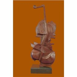 Bronze Vintage Real Metal Sculpture Figure Playing Cello Abstract Modern by DALI