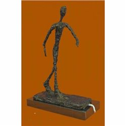 Modern Art Abstract Giacometti Walking Man 2 Bronze Sculpture Marble Base Figure