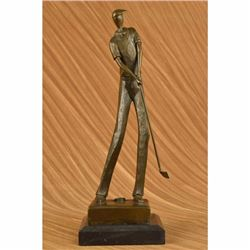 JEAN PATOU SOLID BRONZE GOLFER SCULPTURE. ABSTRACT ART DECO SIGNED MARBLE FIGURE