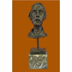 Hot Cast Gia Cometti Male Head Bust Bronze Sculpture Brown Marble Base Figure