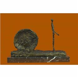 Handcrafted Gia Cometti Bronze Sculpture Woman and Wheel Classic Artwork Statue