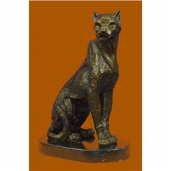 Art Deco Signed Original Puma Cougar Mountain Lion Bronze Sculpture Statue Decor