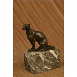 Signed Bugatti Book End Bookend Cougar Mountain Lion Bronze Sculpture Statue