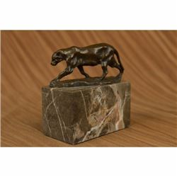 Signed Bugatti Panther Lioness Bronze Sculpture Bookend Book End Statue Figurine