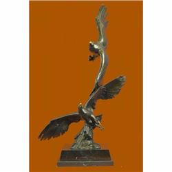 Limited Edition Two Flying Eagle Soar in the Air Bronze Sculpture Marble Base