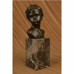 Sculpture Art Bronze Marble Statue Boy Portrait Bust Elegant Classical Decor NR