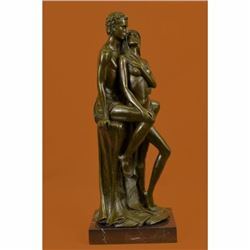 Superb Hot Cast Nude Couple Male Female Bonze Sculpture Marble Base Figurine Art