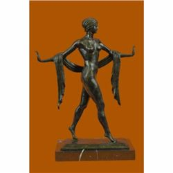 Exotic Nude Dancer Bronze Sculpture Marble Base Art Deco Style Figurine Figure