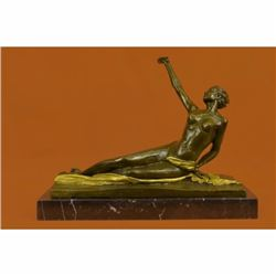 Gilt Bronze Large Nude Lady Bronze Sculpture Marble Base Statue Figurine Figure