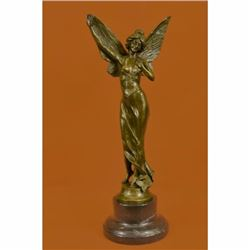 Art Deco Reproduction Fairy Butterfly Angel Bronze Sculpture Marble Base Statue