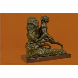 After Rene Gregoire French Hot Cast Male Pushing Stone Bronze Sculpture Statue