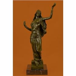 LRGE Original Aldo Vitaleh Arab Girl Dancing Bronze Sculpture Marble Base Statue