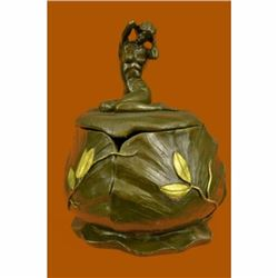 French Jugendstil Art Nouveau Bronze Nude signed M. Bouval Jewelry Box Figurine