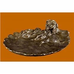 MERMAIDS Statue Jewelry Tray Bronze UNIQUE ART DECO SCULPTURE HOT CAST DECORATIO