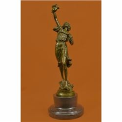 Classical Bronze Sculpture Depicting a lady Holding Jug of Wine Marble Figurine