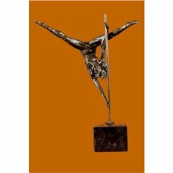 Signed Original Aldo Vitaleh Talented Gymnast Bronze Sculpture Marble Statue Art