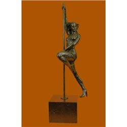 Large 14 Lbs Pole Dancer Bronze Sculpture Marble Base Figurine Figure Vitaleh
