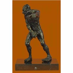 Devil Holding His Phallus Bronze Sculpture Limited Edition Marble Base Figurine