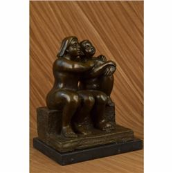 Signed Botero Lesbian Couple Abstract Modern Art Sculpture Marble Statue Figure