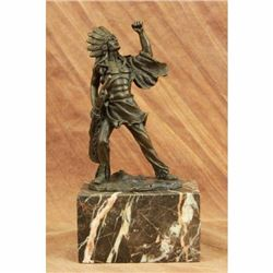 Signed Original Coypel American Native Indian Warrior Bronze Sculpture Statue NR