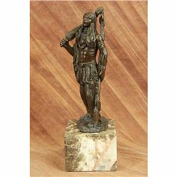 Signed American Warrior By Coypel Bronze Bookend Book End Sculpture Art Deco