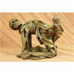 High Quality Nude Female with Angel of Death Bronze Sculpture Halloween Decor NR